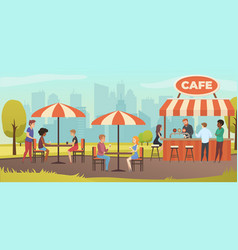 People drink coffe in outdoor street cafe vector