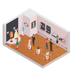 People in museum hall isometric composition vector