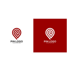pin location out line logo design vector image
