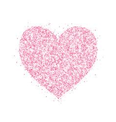 Pink glitter heart frame border dust vector