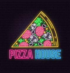 Retro neon pizza house sign on brick wall vector