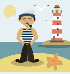 sailor with a pipe and a lighthouse vector image