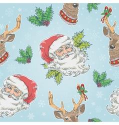 santa claus and deer characters seamless pattern vector image