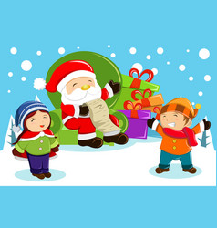 santa claus carrying present bags and holding a vector image