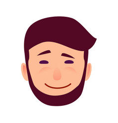Sarcastic smile on cartoon man face vector