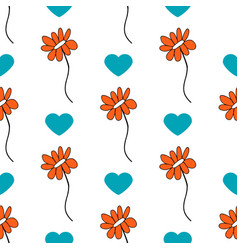 Seamless pattern with cute doodle flower vector