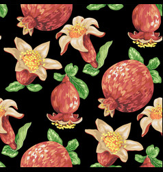 seamless pattern with pomegranate fruits in vector image
