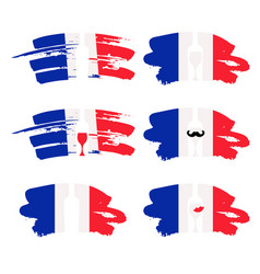 set abstract brush stroke flag france vector image
