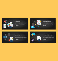 set internet banner design with icons set for vector image
