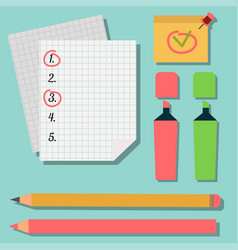 Set marker pens colourful highlighters drawing vector