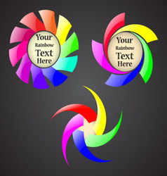 Set of the abstract rainbow spiral signs with your vector image