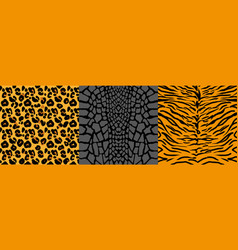 set pattern with wild animal skins vector image