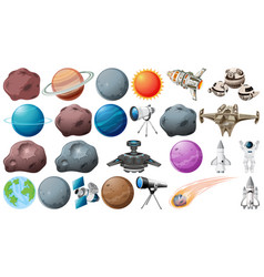 Set planets and space obejcts vector