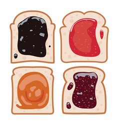 Set white toast bread vector
