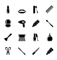 Silhouette make up and hairdressing icons vector image