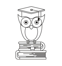 Sketch silhouette of owl knowledge with cap vector