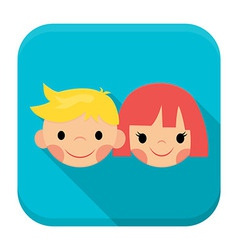 Smiling children faces app icon with long shadow vector image