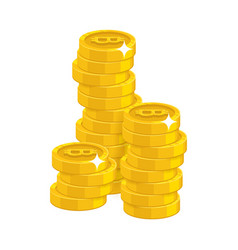 stack gold bitcoins isolated cartoon icon vector image