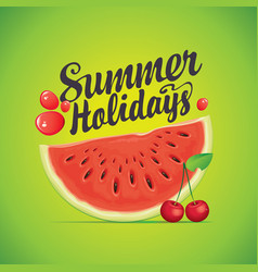 summer banner with watermelon and cherry vector image