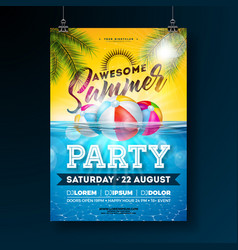 summer pool party poster design template with palm vector image