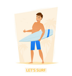 surfer with surf board on the beach vector image
