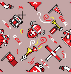 switzerland soccer supporter seamless pattern vector image