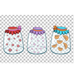 Three glass jars with juicehome preservation vector