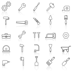 Tool line icons with reflect on white vector image