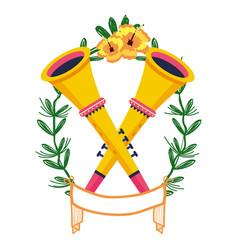 Trumpets on laurel wreath vector