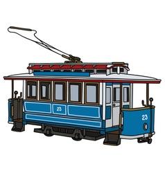 Vintage blue tram vector