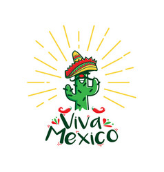 viva mexico cactus character with traditional vector image