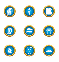 Way to the east icons set flat style vector