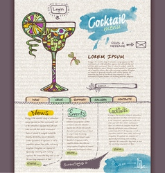 Website cocktail design template vector