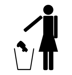 Woman throws in the trash car vector