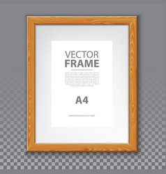 wooden frame for photo or a4 message 3d board vector image