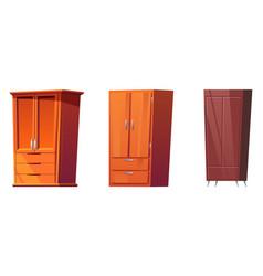 Wooden wardrobes cabinets for bedroom interior vector