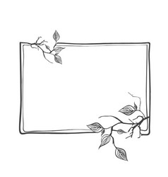 abstract branch frame with leaves and copyspace vector image vector image