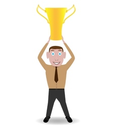 Man with golden cup vector image vector image