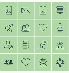 set of 16 social icons includes chatting person vector image