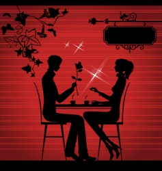 two lovers in the cafe vector image vector image