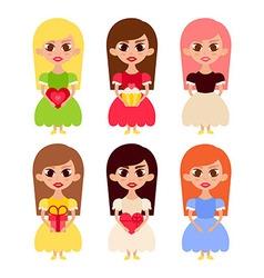 Beautiful Girls Cartoon Characters in Princess vector image