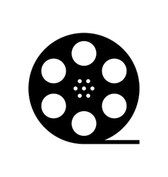 black film reel silhouette vector image vector image