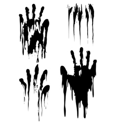 Black handprint set isolated on white vector image vector image