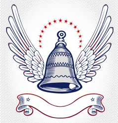 christmas bell wing emblem vector image vector image
