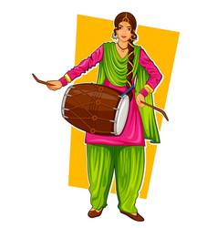 Sikh punjabi sardar woman playing dhol and dancing vector