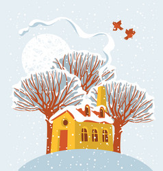 winter landscape with snow-covered house and tree vector image vector image
