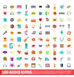 100 audio icons set cartoon style vector image