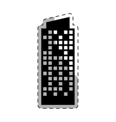 black building line sticker image vector image