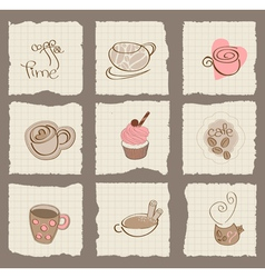 coffee design elements on torn paper - for scrapbo vector image vector image