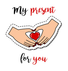 fashion patch with hands holding heart vector image vector image